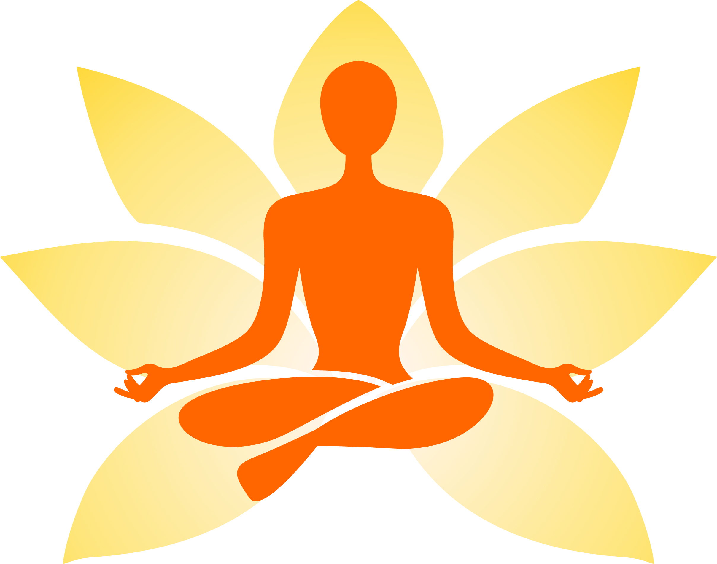 Orange and yellow lotus with orange outline of a person in lotus pose