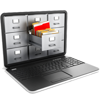 Course Icon for Records Management - A laptop with file cabinets inside