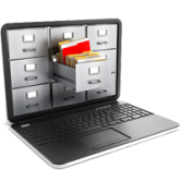 Records Management Icon, a laptop with a file cabinet displayed on the screen