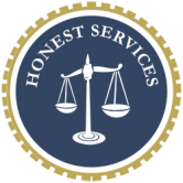 Honest Services Act Logo - A scale of justice in a blue circle